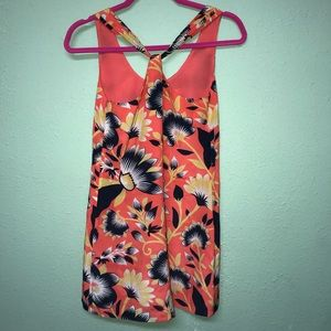 J Crew Twist-back silk dress in hibiscus floral